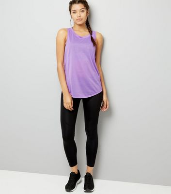 Purple Mesh Back Sports Vest New Look