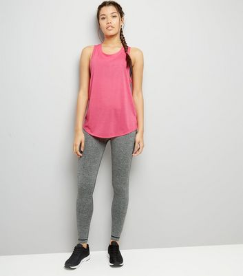 Pink Mesh Back Sports Vest New Look