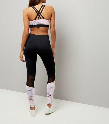 Pink Blush Honeycomb Print Stripe Sports Leggings New Look