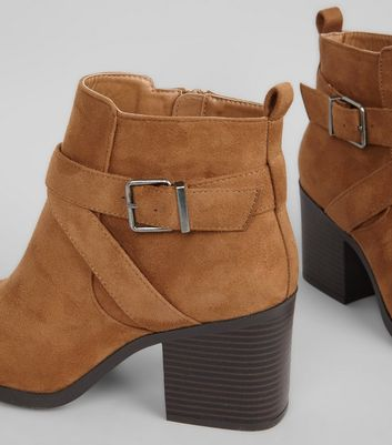 Wide Fit Tan Suedette Square Toe Heeled Boots New Look