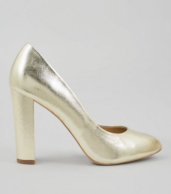 Wide Fit Gold Block Heel Court Shoes