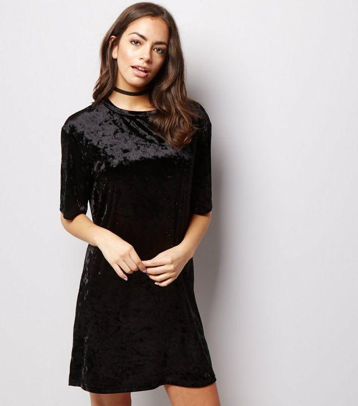 717fe3d5a6e Black Crushed Velvet Tunic Dress | New Look