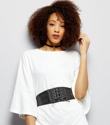 Black Corset Waist Belt New Look