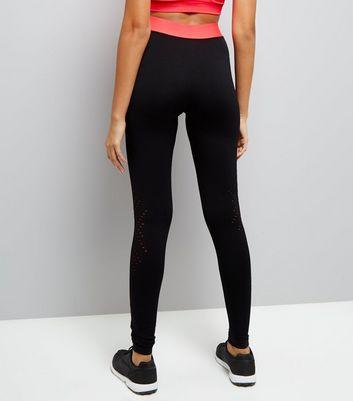 Black Marl Mesh Hem Sports Leggings New Look