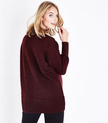 Maternity Burgundy Longline Jumper New Look