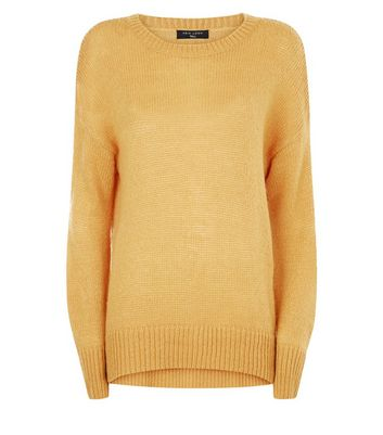 Tall Mustard Yellow Longline Jumper New Look