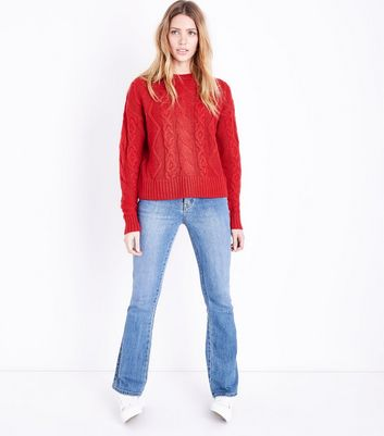 Tall Red Cable Knit Jumper New Look