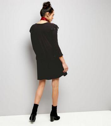 QED Black Frill Trim Swing Dress New Look