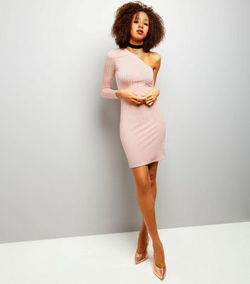 Shell Pink Ribbed Off the Shoulder Bodycon Dress New Look