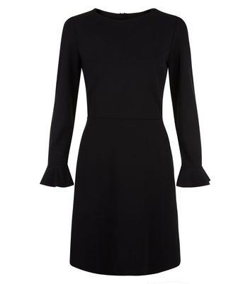 Black Bell Sleeve Tie Waist Dress New Look