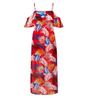 Petite Red Tropical Leaf Chiffon Maxi Dress New Look