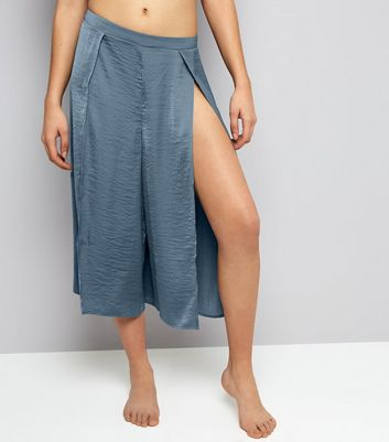 Blue Textured Satin Split Front Pyjama Trousers New Look