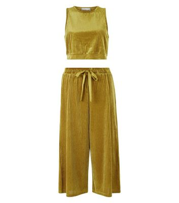 Green Ribbed Velvet Vest And Culottes Pyjama Set New Look