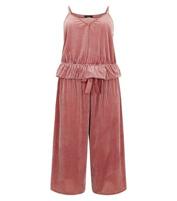 Curves Pink Ribbed Velvet Cami And Culotte Pyjama Set New Look