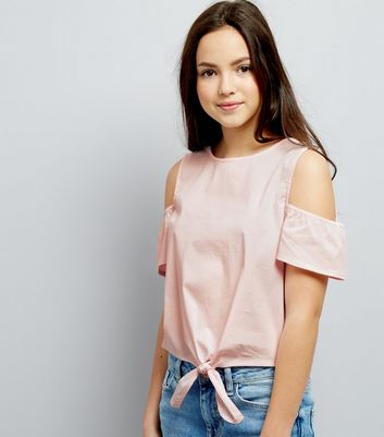 Teens Pink Cold Shoulder Tie Front Top New Look