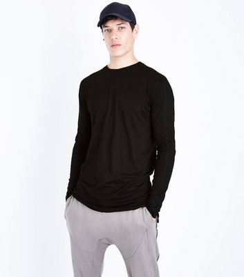 Black Seam Front Longline Long Sleeve T-Shirt New Look