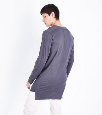 Dark Grey Seam Front Longline Long Sleeve T-Shirt New Look