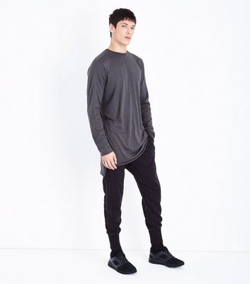Dark Green Long Sleeve Longline Top New Look
