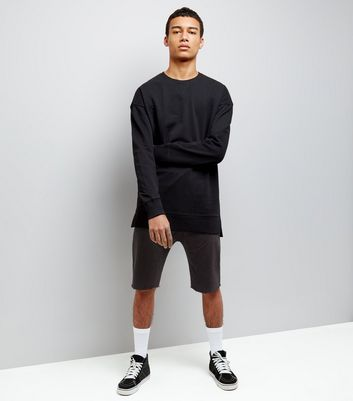 Black Panelled Drop Crotch Jersey Shorts New Look