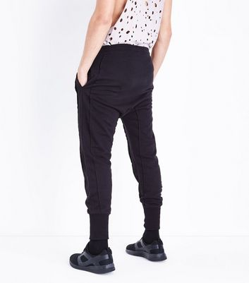 Black Panelled Drop Crotch Jersey Joggers New Look