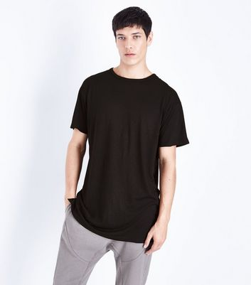 Black Split Hem Longline T-Shirt New Look
