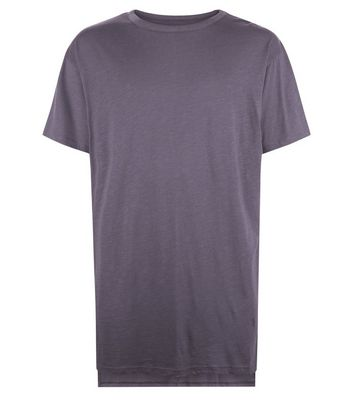 Grey Split Hem Longline T-Shirt New Look