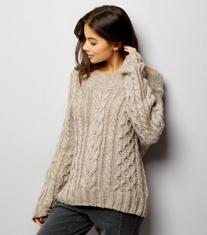 b05f0c168e6d6 Cream Chunky Cable Knit Bardot Neck Jumper