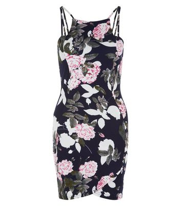AX Paris Navy Floral Multi Strap Mini Dress New Look