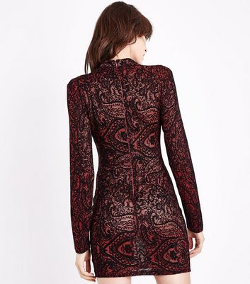 AX Paris Red Lace Long Sleeve Bodycon Dress New Look