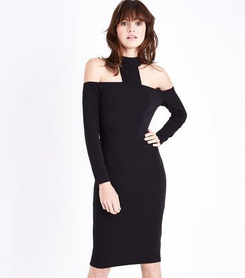 AX Paris Black High Neck Midi Dress New Look