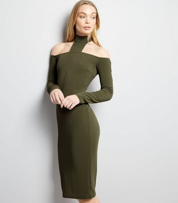 AX Paris Khaki High Neck Midi Dress New Look
