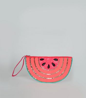 Pink Watermelon Embellished Clutch Bag New Look