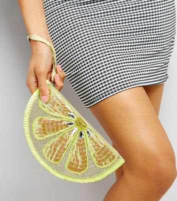 Yellow Lemon Sequin Embellished Clutch New Look