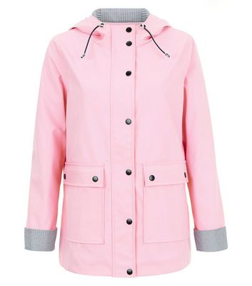 Petite Pink Stripe Trim Anorak New Look