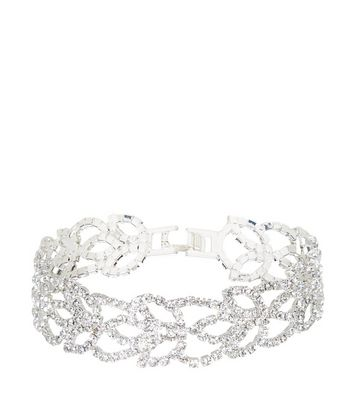 Silver Diamante Leaf Bracelet New Look