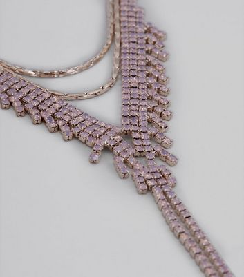 Pink Crystal Layered Necklace New Look