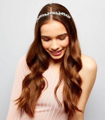 Silver Crystal Flower Headband New Look