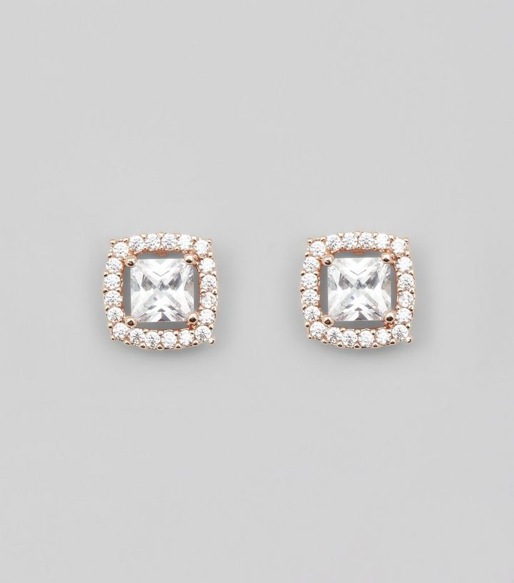 92bbb4aaf Rose Gold Cubic Zirconia Square Stud Earrings | New Look