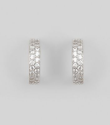 Silver Cubic Zirconia Hoop Earrings New Look
