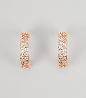 Rose Gold Cubic Zirconia Mini Hoop Earrings New Look