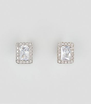 Silver Cubic Zirconia Rectangle Stud Earrings New Look