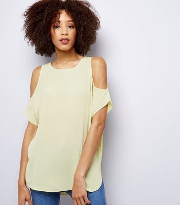 Yellow Cold Shoulder Top New Look