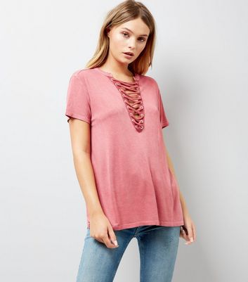 Deep Pink Acid Wash Lattice Front T-Shirt New Look