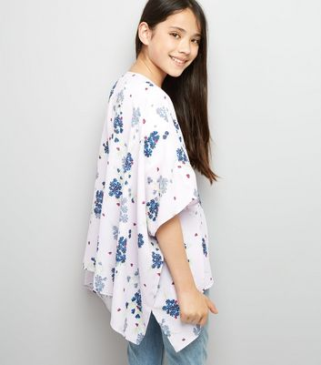 Teens Pink Floral Print Kimono New Look