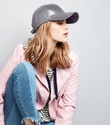 Grey Metallic Cap New Look