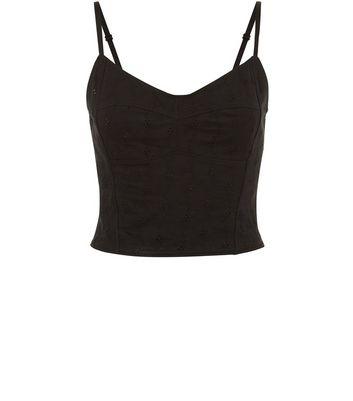 Black Broderie Bralet Cami New Look