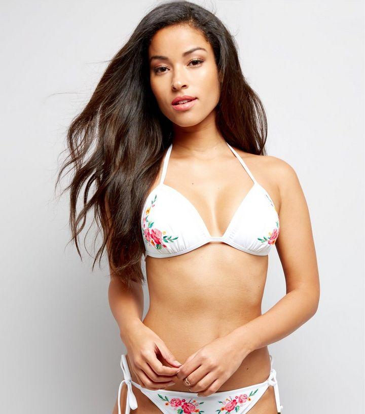 e3c6483f3e White Floral Embroidered Bead Tie Bikini Top | New Look