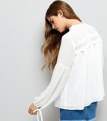 White Lace Trim Long Sleeve Top New Look