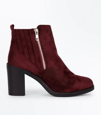 Wide Fit Burgundy Suedette Stitch Side Chelsea Boots New Look
