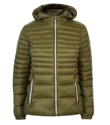 Teens Khaki Lightweight Puffer Jacket New Look